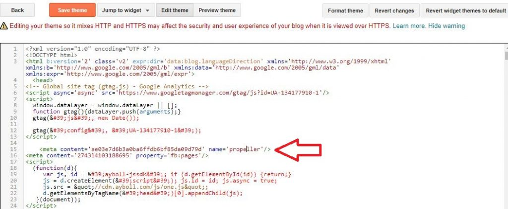 how to add propeller ads in blogger