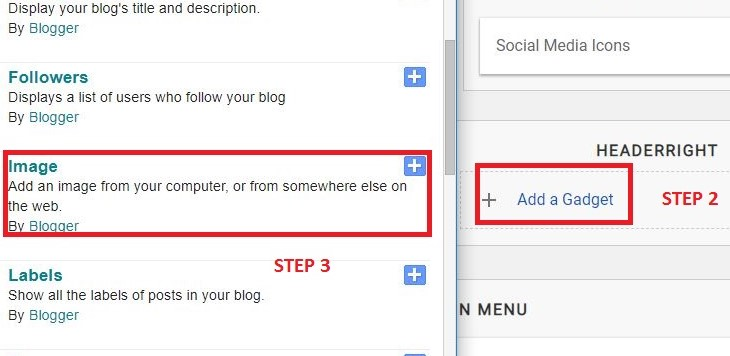 Add gadget in blogger