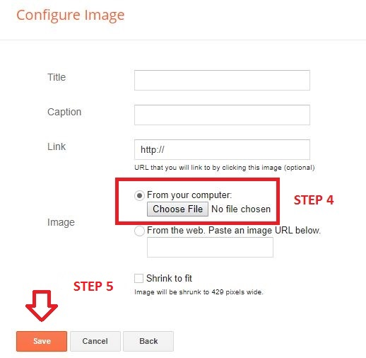 configure image in blogger